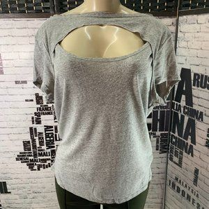 Free People Gray Exposed Seams Cut-out Chest Top